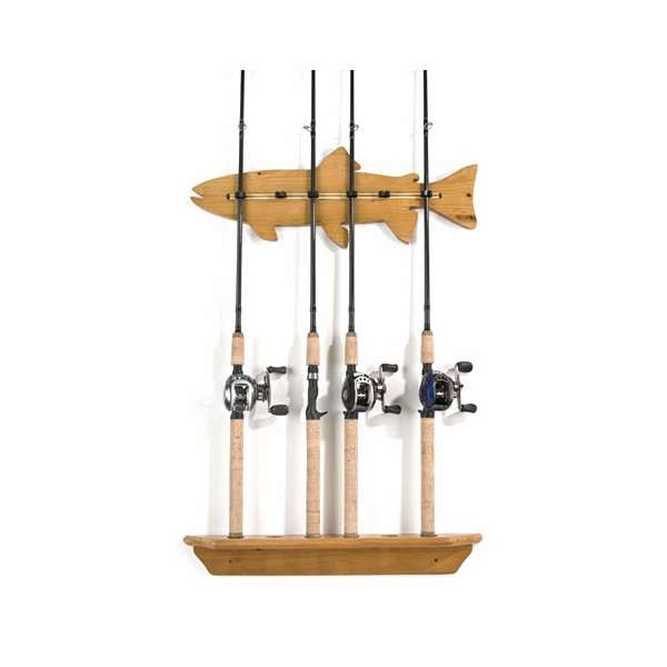 Organized fishing fwr 6 rod pine 39 fish 39 wall rack for Wall fishing pole holder