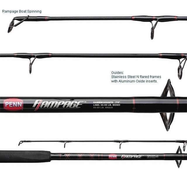 Penn Rampage II 10ft Uptide Boat Fishing Rod 2.5-10oz With Travel Tube