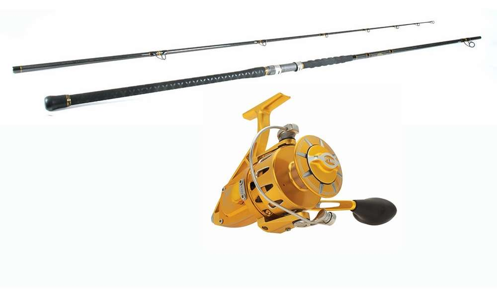Penn torque reel gold penn carnage ii surf combo for Surf fishing rods and reel combos
