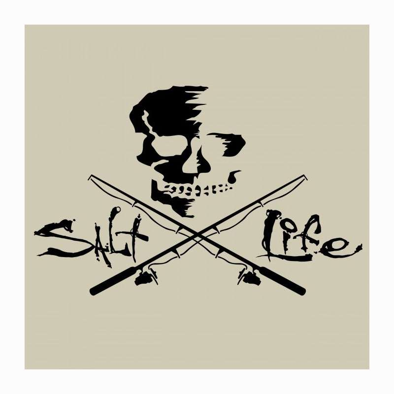Salt life sad934 large skull and poles decal black for Saltwater fishing decals