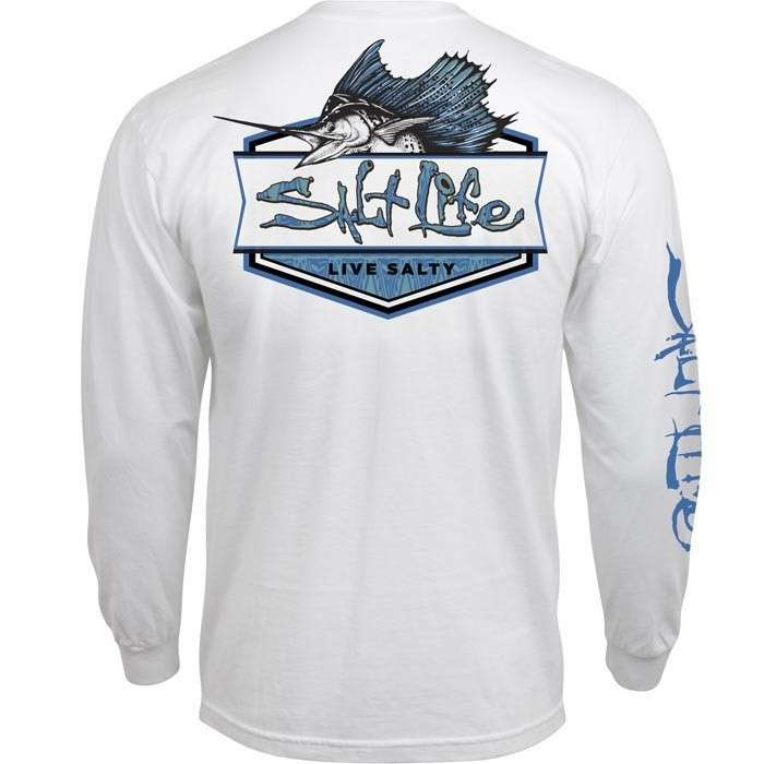 Salt life sailfish badge long sleeve t shirt for Salt life long sleeve fishing shirts
