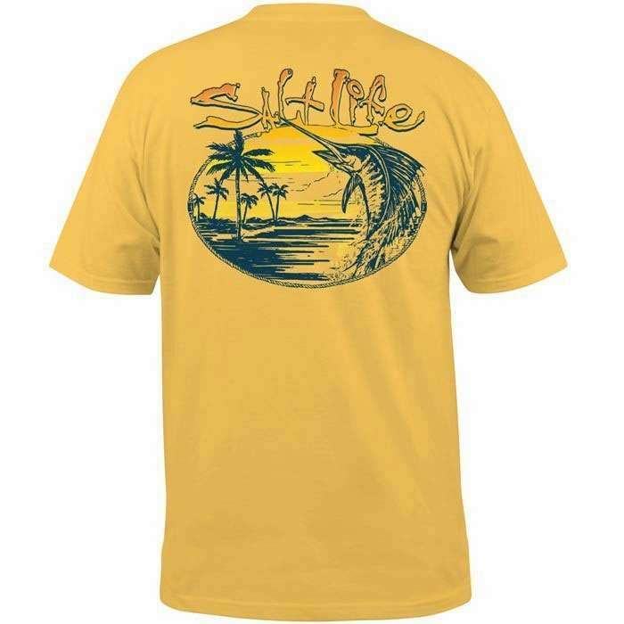 Salt life slm10163 sail away short sleeve t shirt banana for Life is good sailing t shirt
