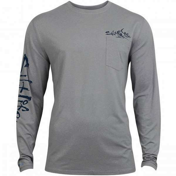 Salt Life Captain SLX Performance LS Pocket T-Shirt - Grey Heather - Size XX-Large SAL-0583-5