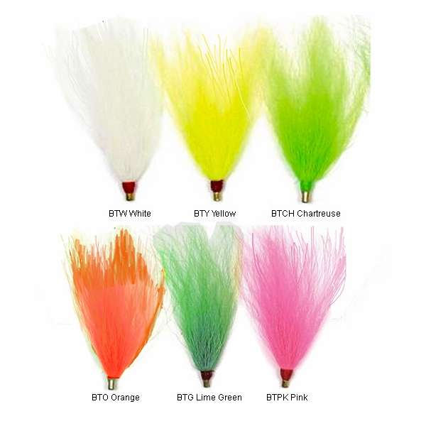 "LOT OF 100 SEA STRIKER Bucktail Teaser Fishing Lures 3/"" BULK Chartreuse BTCH"