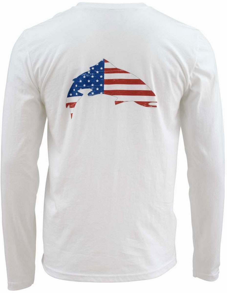 White Free US Shipping Simms Trout USA LS T