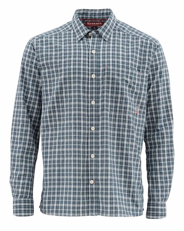 Closeout Simms Morada Long Sleeve  Shirt-Harbor Blue Plaid Size XL