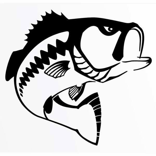 Steelfin Largemouth Bass Decals Black