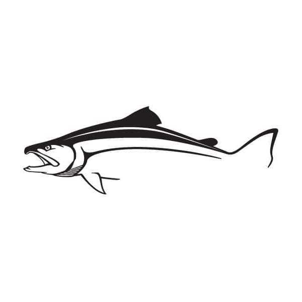 Steelfin Salmon Decal Large Black STL-0019-2