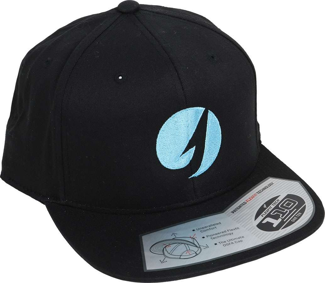 4291b4f487034 TackleDirect 11261-001-TDLOGO Flexfit Twill Snapback Hat - Black Cool Blue  Logo