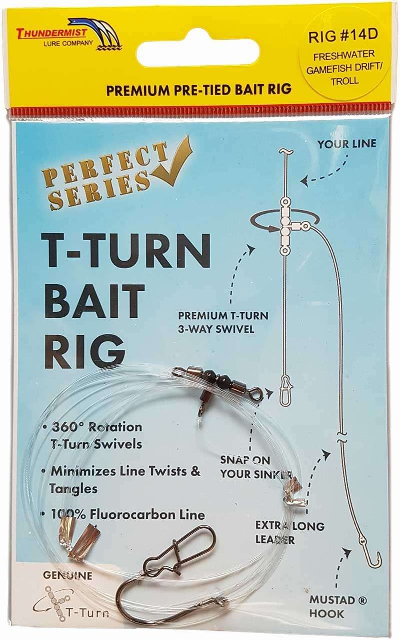 Thundermist T-Turn Bait Rig #14D - Freshwater Game Fish Drift/Troll