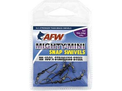 AFW FTSS070B/50 70Lb. 50pk Stainless Steel Snap Swivels Black