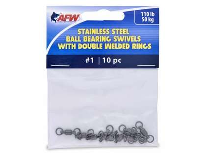 AFW FWV01B/10 Size #1 110lb Stainless Steel Ball Bearing Swivels, 10pc