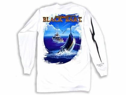 Black Bart Bull Dolphin Long Sleeve T-Shirts White XX-Large