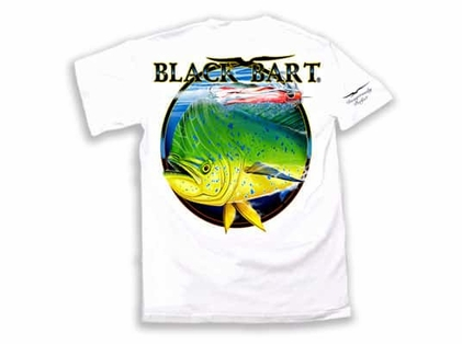 Black Bart Bull Dolphin Short Sleeve T-Shirts White XX-Large