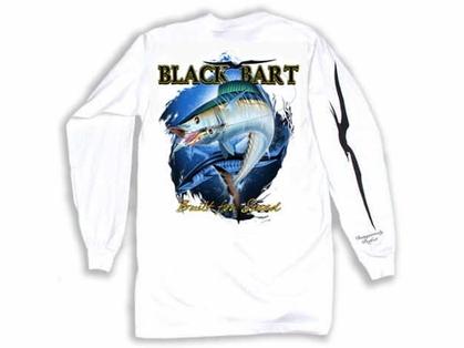 Black Bart Wahoo Long Sleeve T-Shirts White XX-Large