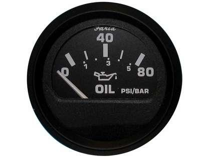 Faria 12803 Euro Black Oil Pressure Gauge - 80 PSI