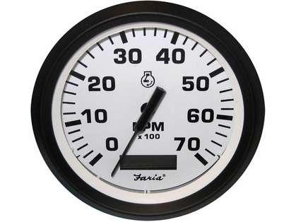 Faria 32940 Euro White 4in Tachometer w/ Hourmeter - 7000 RPM