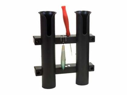 Fish-On! Plastic Double Rod Holder Black