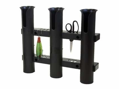 Fish-On! Plastic Triple Rod Holder Black
