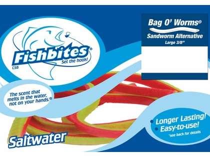 Fishbites 0113 Long Lasting Sandworm Bag O' Worms 2Pk Red/Green