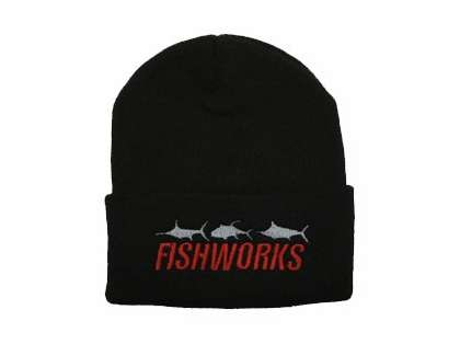 Fishworks Beanie 3 Fish Impact Logo Black BN10