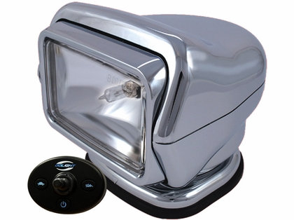 Golight HID Stryker Searchlight w/ Wired Dash Remote Mounted - Chrome