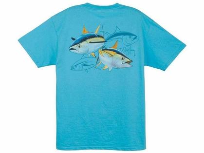 Guy Harvey MTH1329 Tuna Dash T-Shirts Aqua Blue