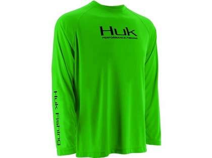 Huk Performance Raglan Long Sleeve Shirt - Neon Green