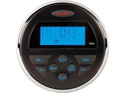 Jensen MS30 AM/FM/USB Compact Waterproof Stereo - Blue Backlight