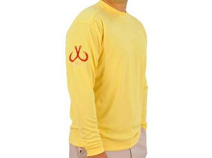Montauk Tackle Crew Neck MTCdryprotect Shirt Sunset Beach Yellow