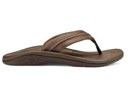 eb41ed45b65f3 OluKai Hokua Leather Men's Sandal Dk Wood/Dk Wood - Size 7