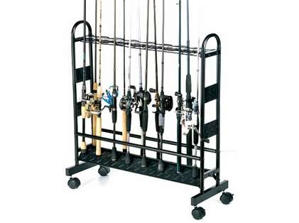 Organized Fishing CMR 16-Rod Industrial Metal Rolling Rod Rack