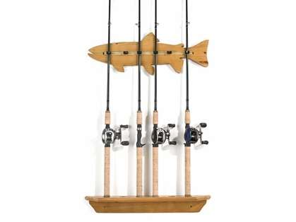 Organized Fishing FWR 6-Rod Lacquered Pine 'Fish' Wall Rack