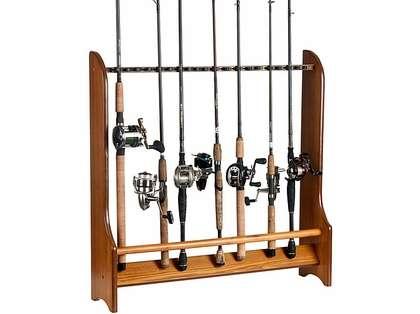 Organized Fishing HFR 20-Rod Oak Floor Rack