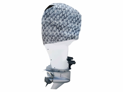 Outer Envy Outboard Motor Covers - Grey Fish Scales