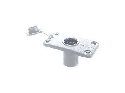 Scotty 244-WH Rectangular Flush Deck Mount - White - w/ Splash Cover