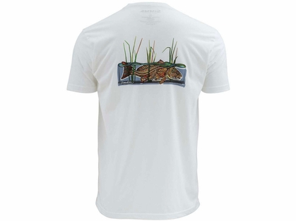 Simms Larko Redfish Short Sleeve T-Shirt - White - Small