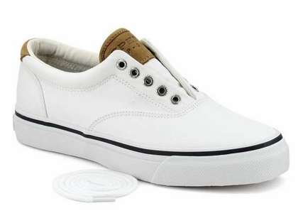 Sperry Top-Sider Men's Salt Washed Twill Striper CVO Sneaker - White