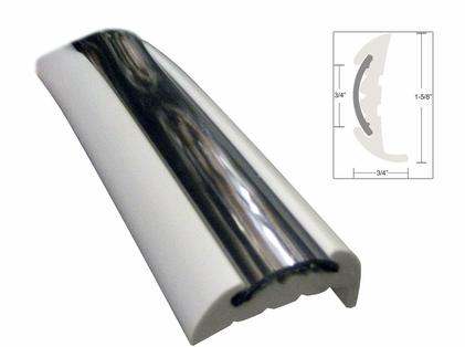 TACO V11-9811WCM70-2 Semi-Rigid Rub Rail Kit, White w/Flex Chrome 70'