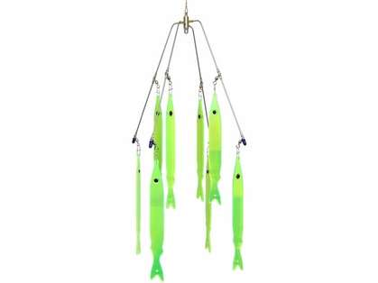 Tournament 620-3244 24in 4-Arm Striper Umbrella Rig 8 3D Stickbaits