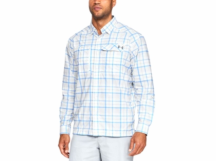 Under Armour Fish Hunter L/S Plaid Shirt - White/Carolina Blue - XL