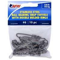 AFW FTV320B/10 Size #6 320lb SS Ball Bearing Snap Swivels, 10pc